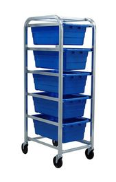 Plastic totes with mobile rack